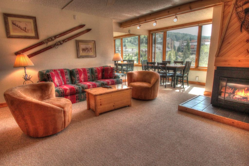 Living Room - Relax in front of the roaring gas fireplace after a long day on the slopes.