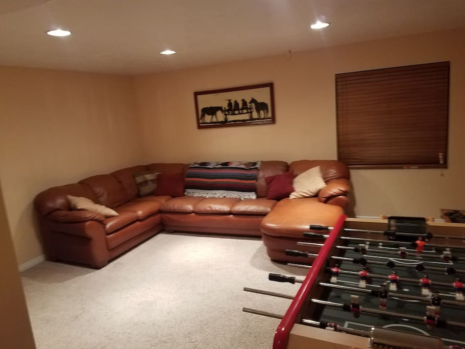 downstairs game room with pull out sofa sleeper