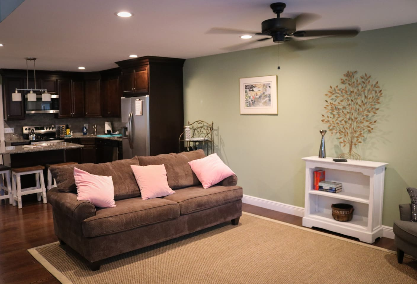 Ample space for cooking, dining, and entertaining! Can lighting and ceiling fans can found throughout the home.