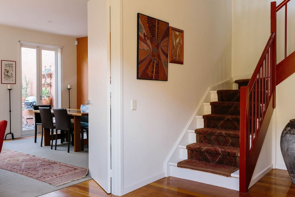 Open the front door - large entrance hall looking through to the dining/sitting/courtyard