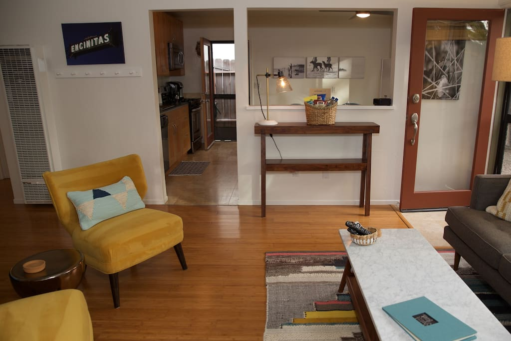 Great view of the connected kitchen/living space.