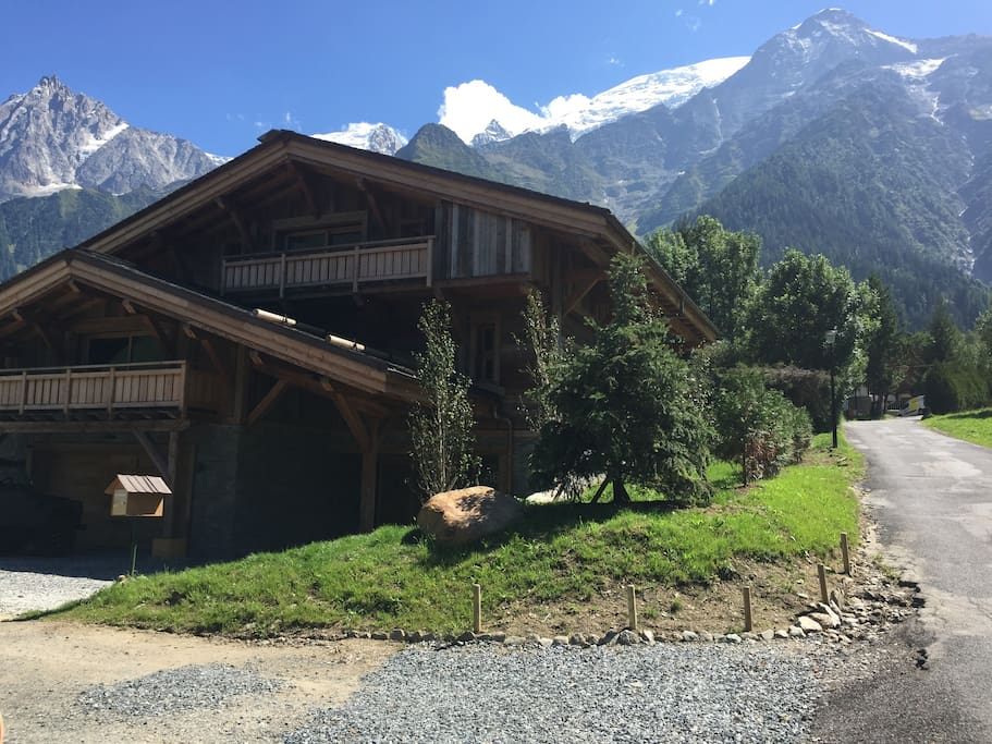 gorgeous Mont Blanc backdrop to the chalet