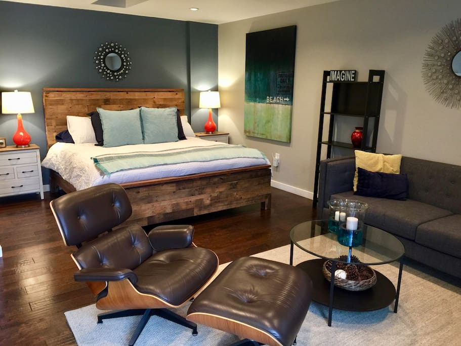 King bed, queen sofa sleeper, and 55-inch TV