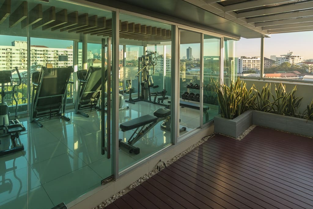 Fully equipped gym on the roof