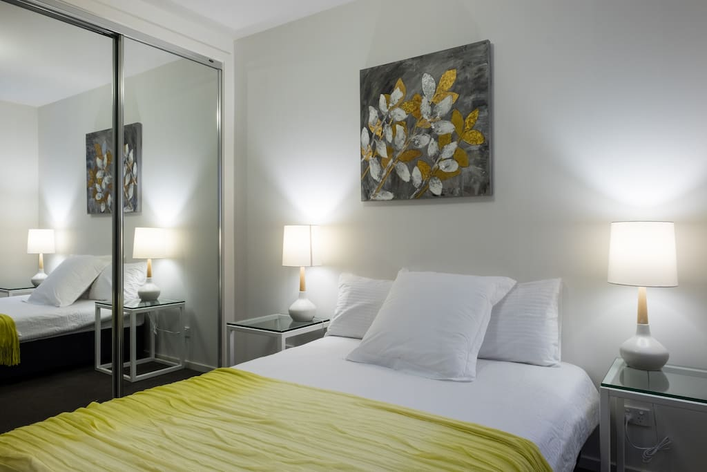 Bedroom 3- Full length mirrored robes, Double Bed, Two Bedside Tables.