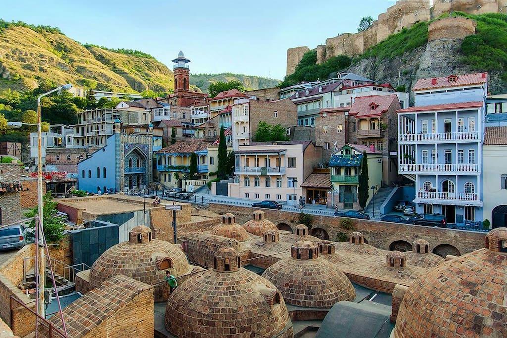 old tbilis,narikala castle,machete and king erekle's bath.