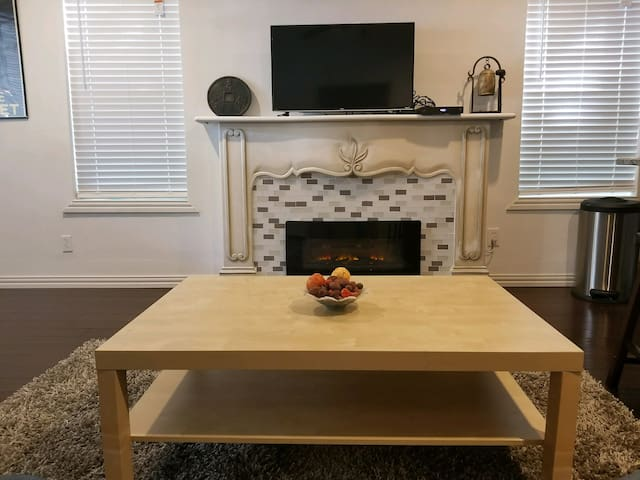 Electric Fireplace, TV, and coffee table