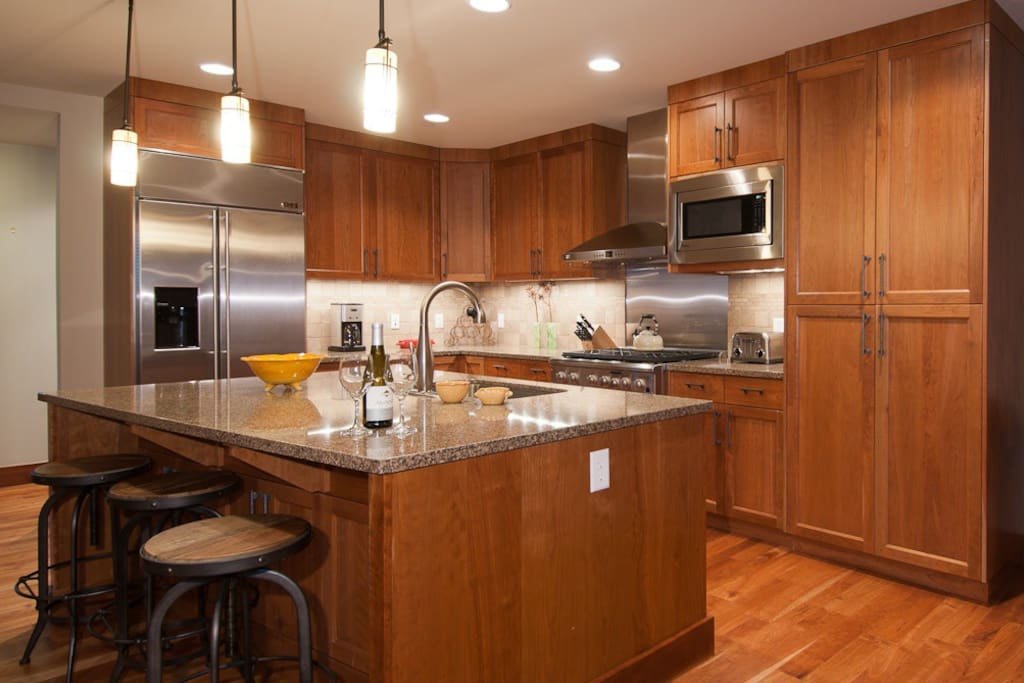 Well appointed kitchen with open layout.