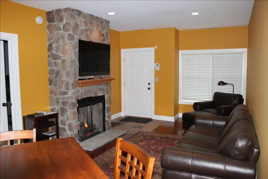 Living Room w/gas fireplace & sleep sofa