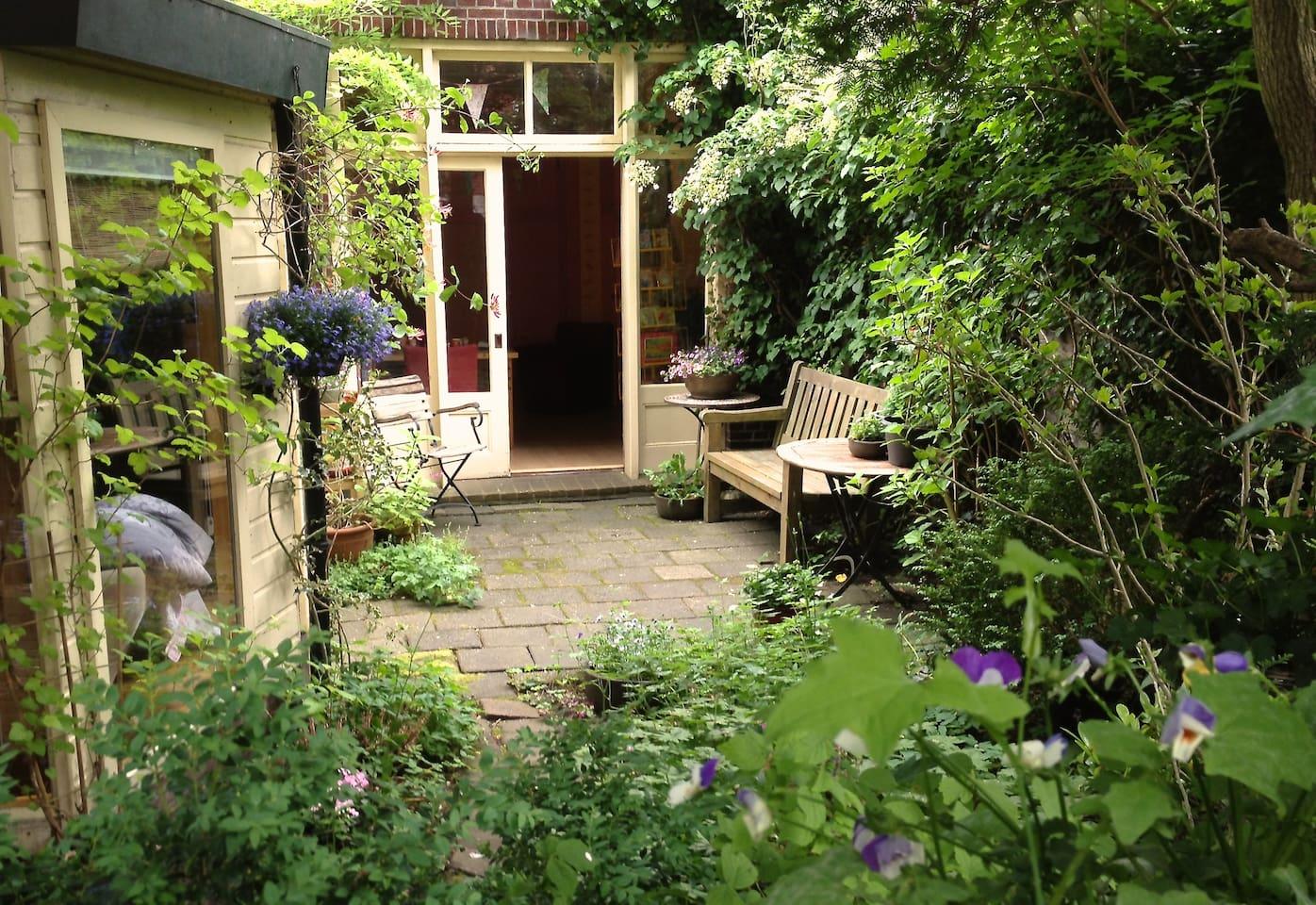 Privacy in de tuin vol bloemen.