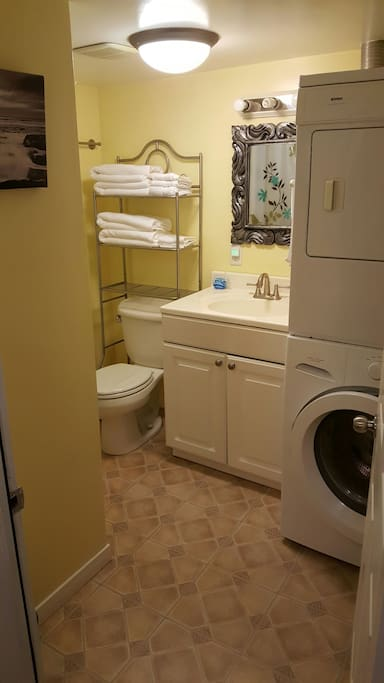 Washer and dryer are available for guest use. Shower is a stand up stall.