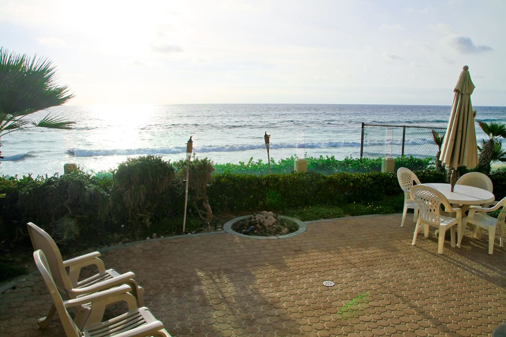 outside patio with beach view