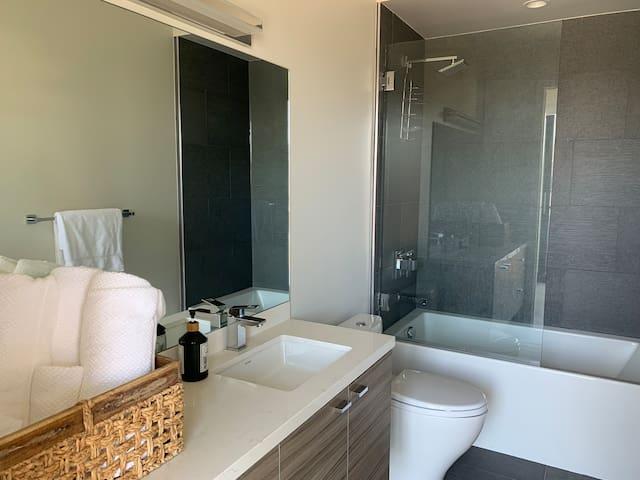 Master bathroom includes rainfall shower head and deep soaking tub