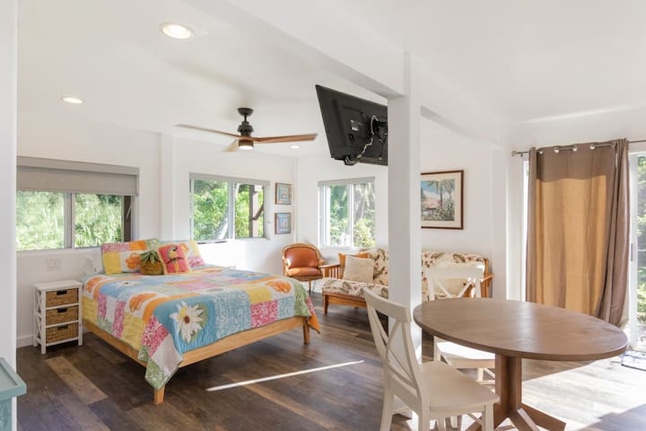 Studio has a queen size bed, TV, a futon sofa bed and a table and chairs to eat at.