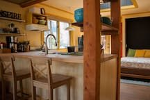 Kitchenette and counter seating