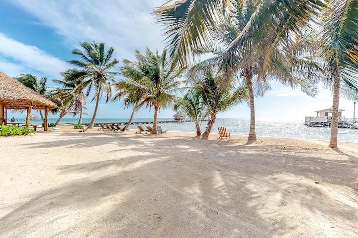 Ocean view condo w/ shared pool, immediate beach access, free WiFi & partial AC!