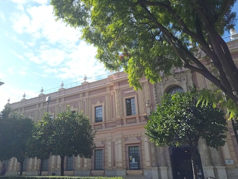 center of Seville plaza del museo ideal location