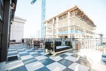 Great balcony located at the Sky Lounge that overlooks downtown and all the crazy construction Nashville has going on!