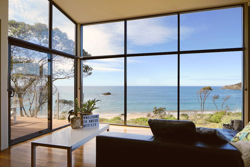 Sit and watch the waves break from the leather sofas.