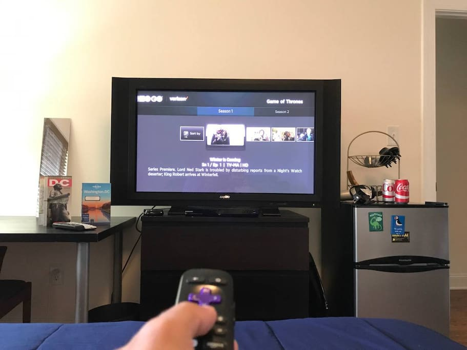 Your TV with Roku (Amazon Prime and Netflix included)