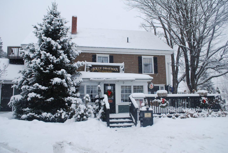Our lovely Inn blanketed in snow