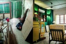living room before ( dental clinic) & after transformation