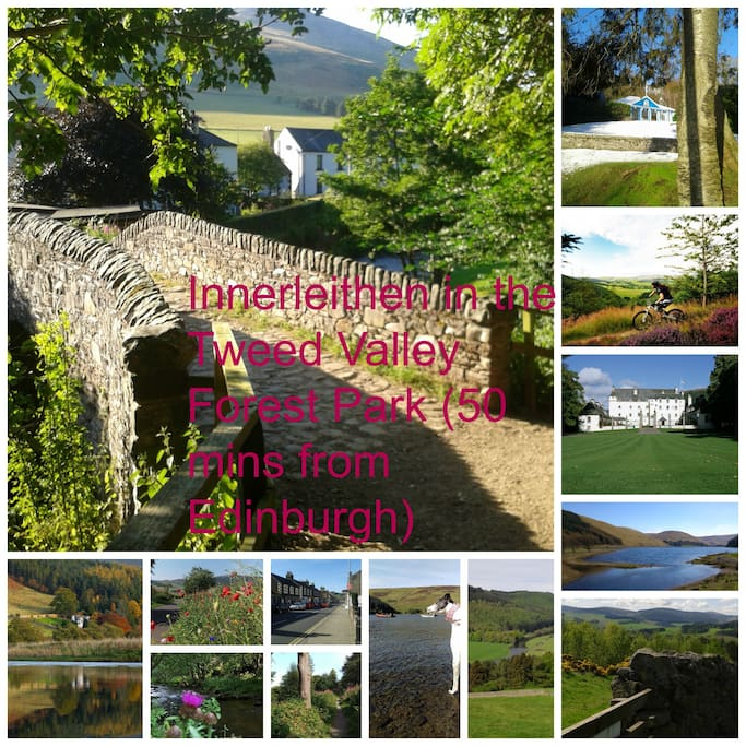Some views from in and around the town. Innerleithen is famous for world class mountain biking and Edinburgh is easily accessible.