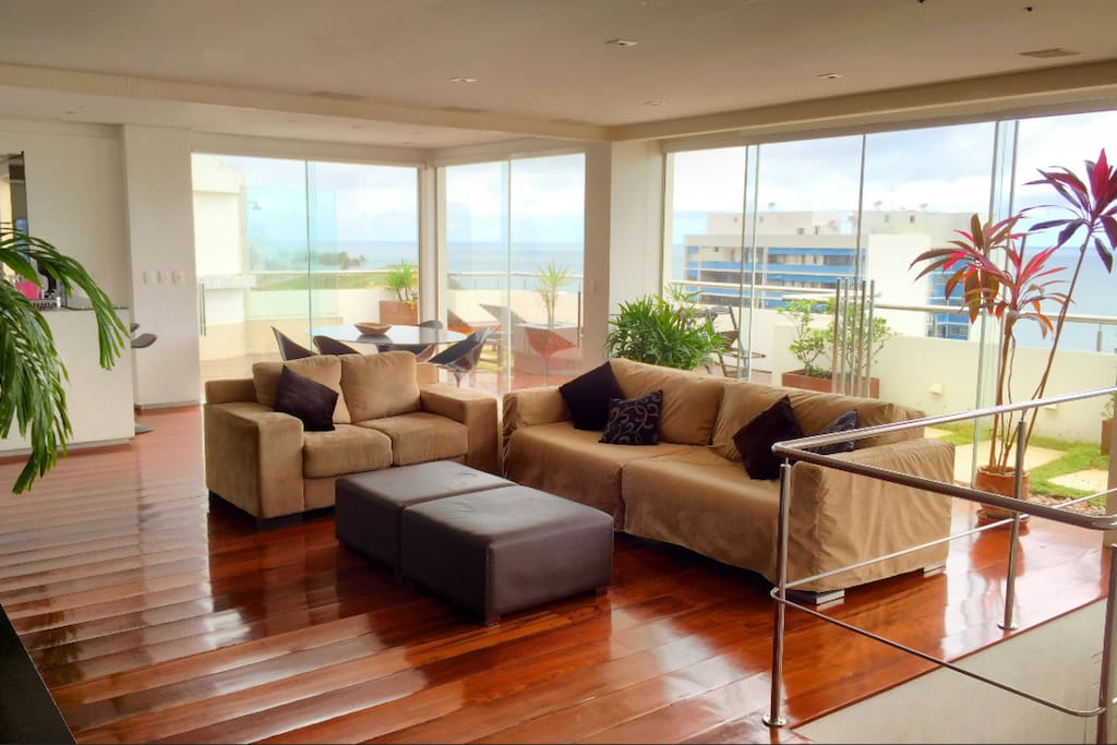 Huge open plan living area, with New York style kitchen and bar, and views to the ocean!