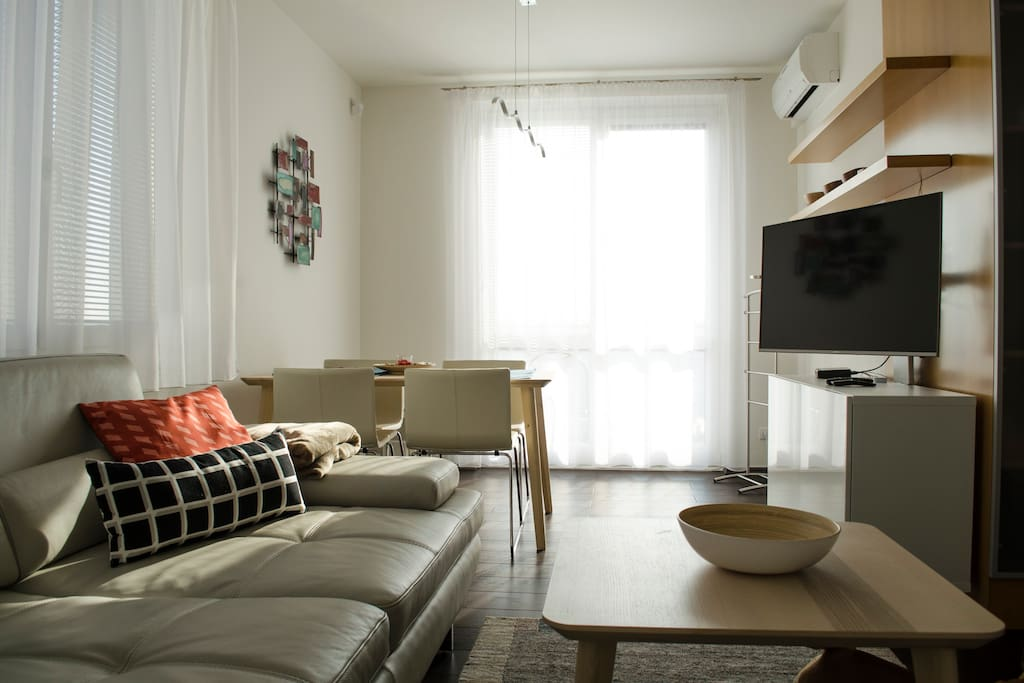 Living room with adjustable TV