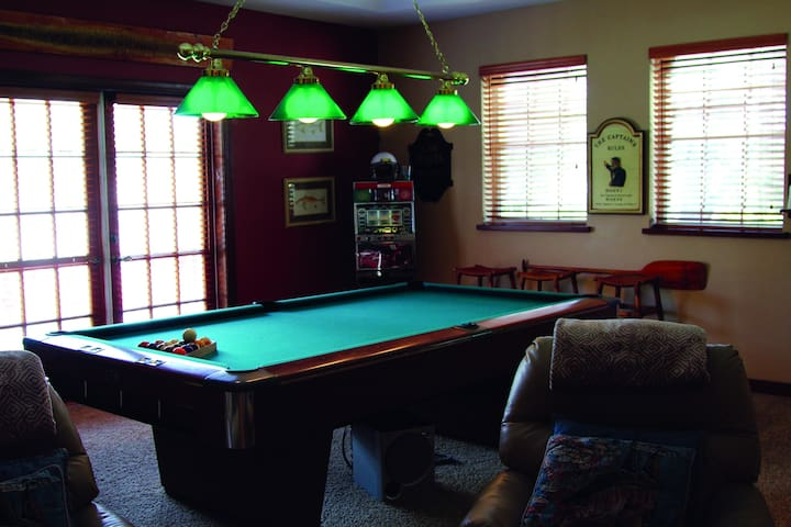 Full size professional pool table with all the tools you will need to have a great time playing pool.