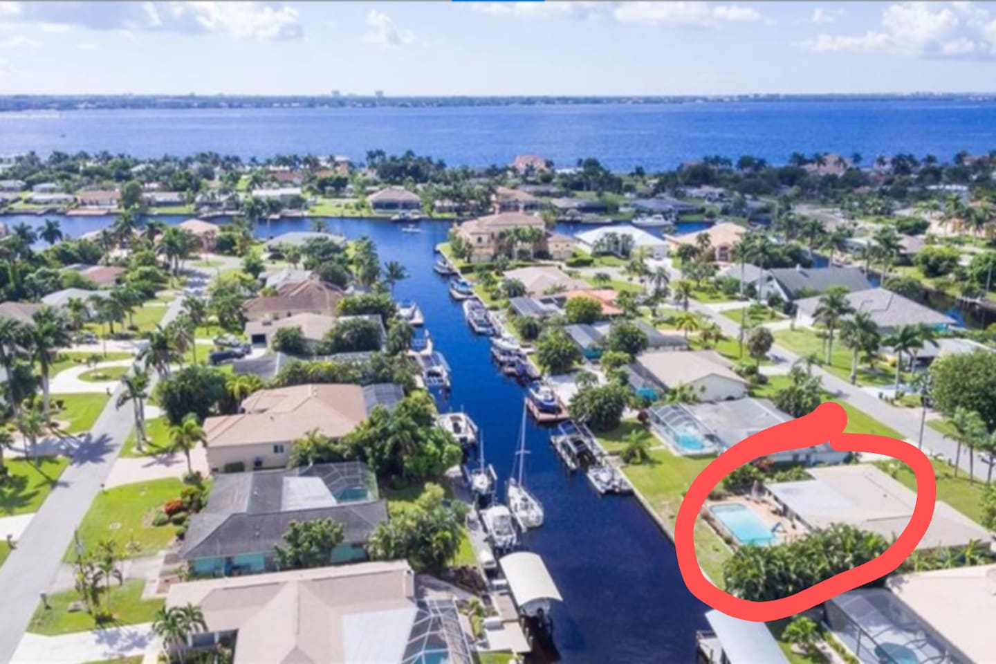Arial view of house on canal