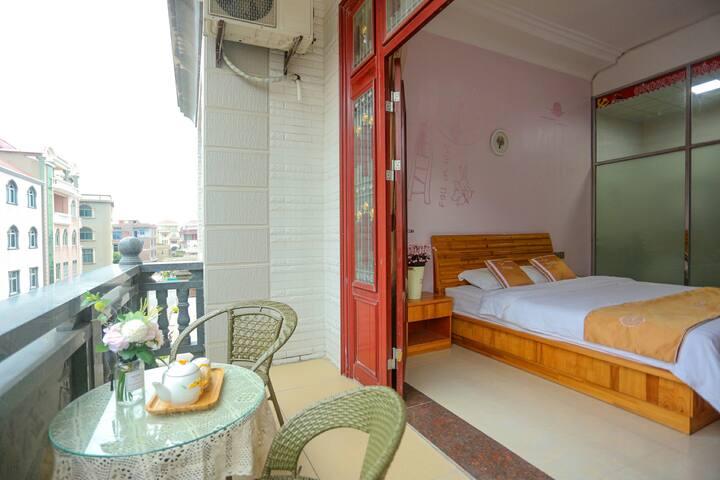 湄洲岛蓝海精致阳台大床房(码头接送,双人自行车免费骑)