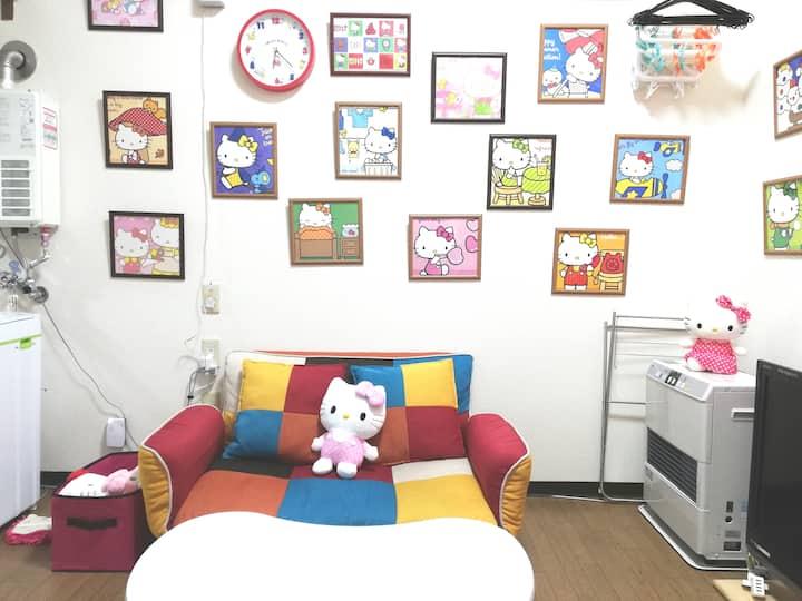 Many Hello Kittys! 5min-wl fm Subway&Airport Bus