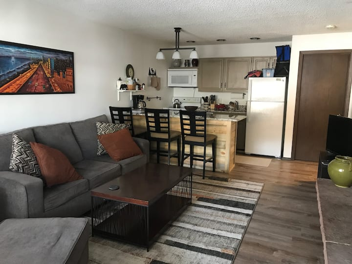 2 bedroom condo on river, walking distance to town