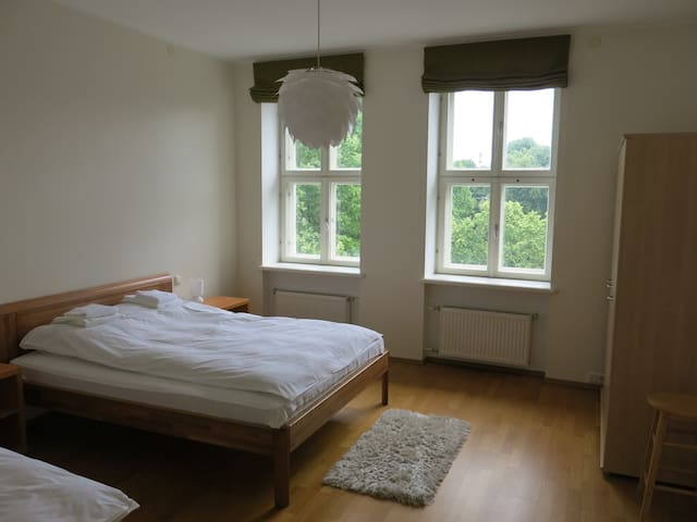 Second room (22m2) with a double bed (160cm), a single bed (100cm) and a wardrobe