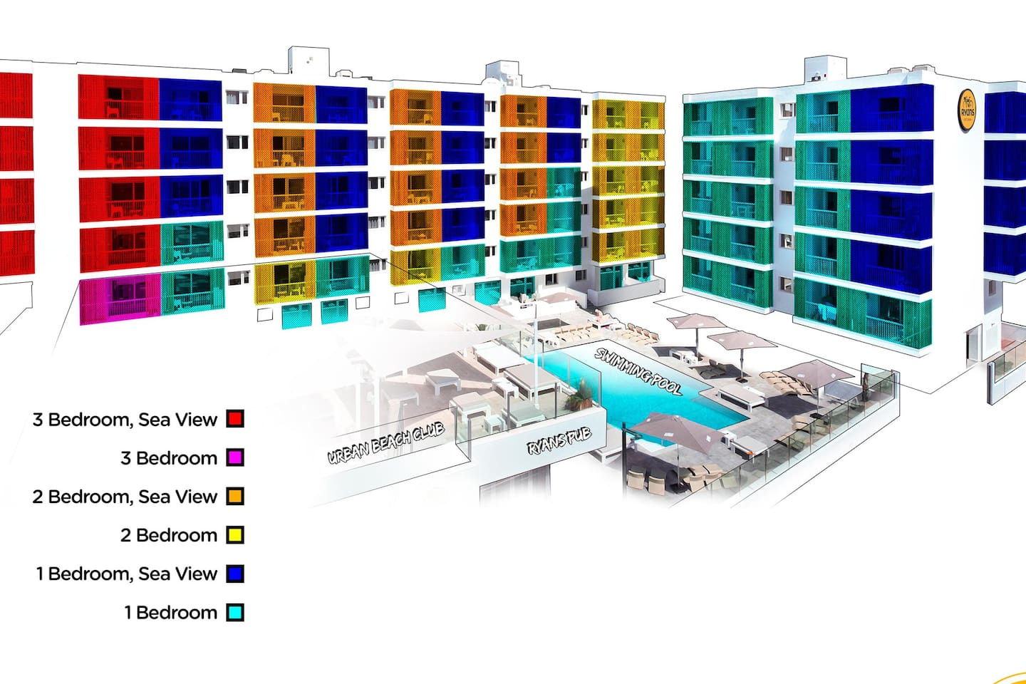 Ryans Ibiza - Room type map - choose your best apartment