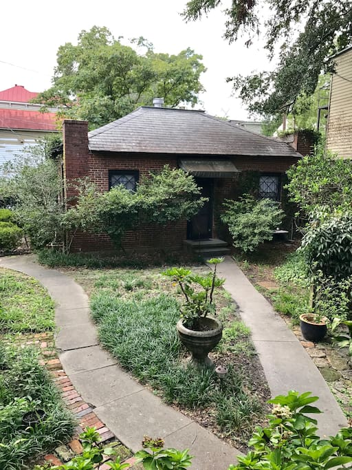Exterior of Carriage House Duplex: This Charming Building is in the Gardens behind the George Baldwin Mansion.