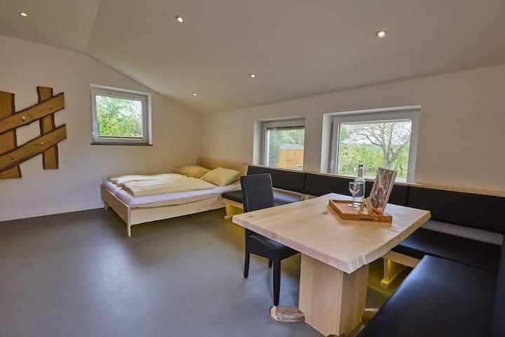 Urlaubsreiterhof Trunk (Igersheim), Ferienwohnung Wengertsblick für 1-3 Personen mit Terrasse