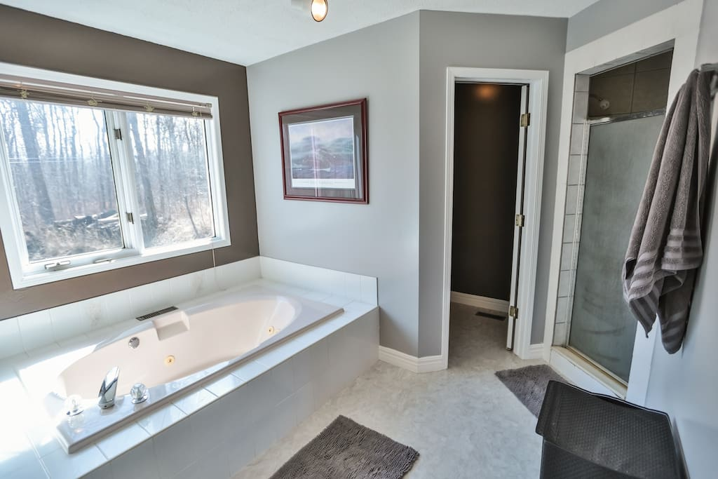 Ensuite Jacuzzi, Shower & Full Bathroom with double sinks attached to Master King Bedroom