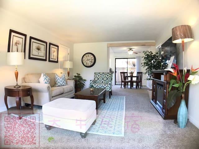 美丽花园公寓2房2卫,高档家私寝具,厨具一应俱全尔湾中心,华人超市,华人购物广场,交通便利,四通八达