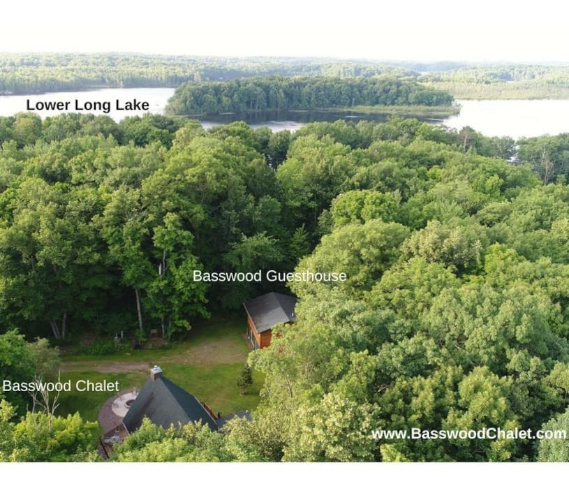 Basswood Chalet & Guesthouse is located across the road from Lower Long Lake, nestled in the woods