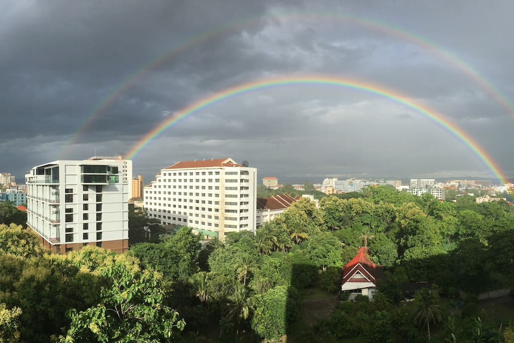 Rainbows often appear during the rainy season