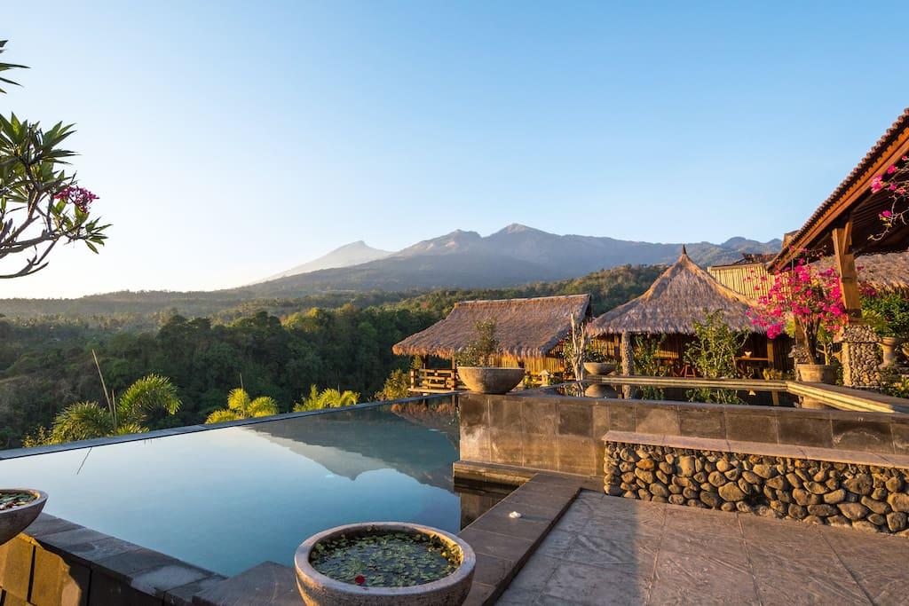 Rinjani Lodge Infinity swimming pool and views