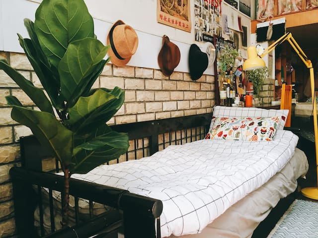 sofa bed at night time , 晚上的沙发