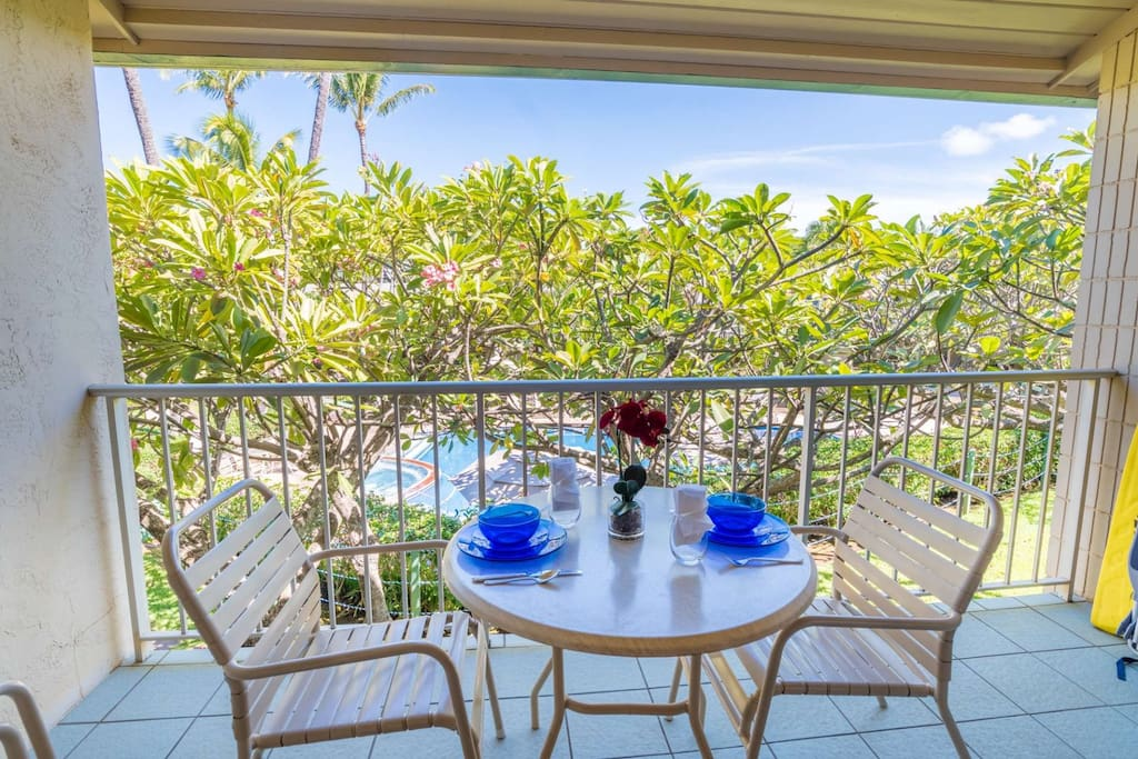 Enjoy your morning coffee on your private second floor lanai overlooking beautiful Napili Shores grounds including upper swimming pool.
