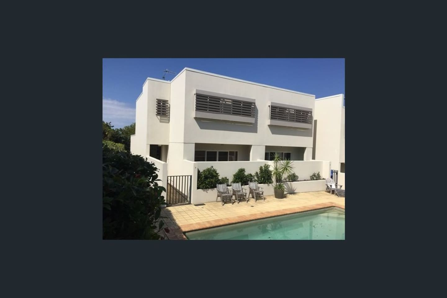 Three storey townhouse with only one common wall.  Direct access to pool through gate shown