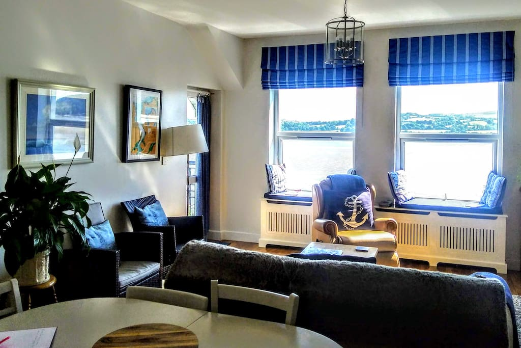The Living room overlooking the Lough, with balcony access for wonderful views.