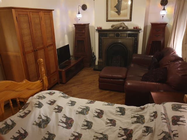 Large Comfortable Double Room with couch and TV :