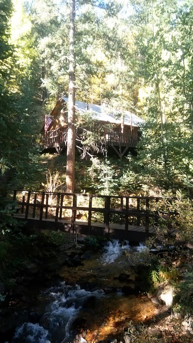 Cross the bridge to the cabin
