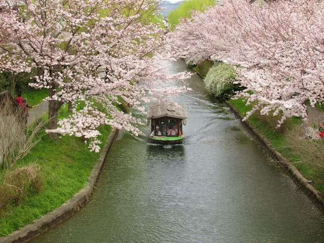 弁天橋/Bentembashi at 濠川/Agua, the boats were used to transport rice & sake from Edo era (since1603), now open for tourists, especially during spring time in April, when sakura trees along the riverbank reach their full bloom, 10~15 mins on foot to this spot (or 3mins by No.81 bus)